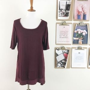 Anthropologie Tunic Top Large Short Sleeve Maroon